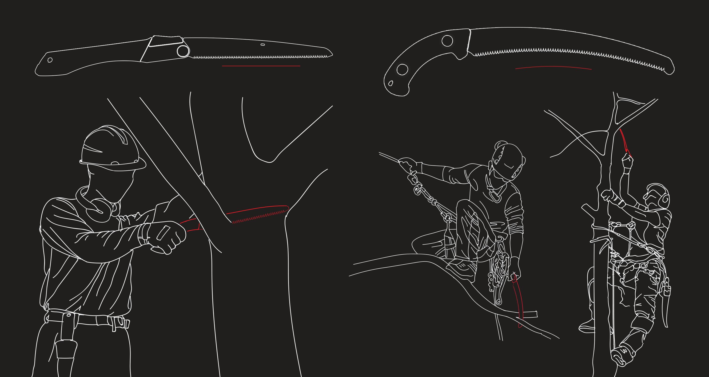 sawing above shoulder below knee EN